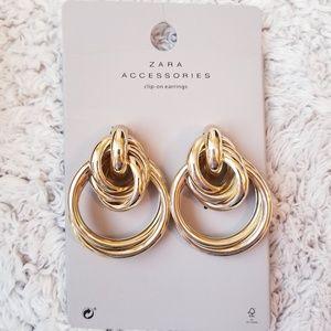 Zara Gold Clip On Statement Earrings Hoop